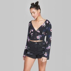 🎃 Wild Fable Floral Print Deep V Top